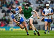 7 August 2021; Declan Hannon of Limerick in action against Conor Gleeson of Waterford during the GAA Hurling All-Ireland Senior Championship semi-final match between Limerick and Waterford at Croke Park in Dublin. Photo by Eóin Noonan/Sportsfile