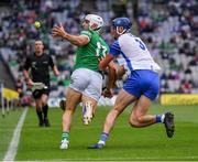 7 August 2021; Aaron Gillane of Limerick is tackled by Conor Prunty of Waterford during the GAA Hurling All-Ireland Senior Championship semi-final match between Limerick and Waterford at Croke Park in Dublin. Photo by Ray McManus/Sportsfile