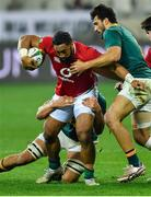 7 August 2021; Bundee Aki of British and Irish Lions is tackled by Damian de Allende of South Africa, right, during the third test of the British and Irish Lions tour match between South Africa and British and Irish Lions at Cape Town Stadium in Cape Town, South Africa. Photo by Ashley Vlotman/Sportsfile