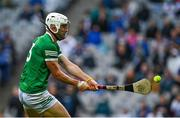 7 August 2021; Aaron Gillane of Limerick shoots to score his side's first goal during the GAA Hurling All-Ireland Senior Championship semi-final match between Limerick and Waterford at Croke Park in Dublin. Photo by Seb Daly/Sportsfile