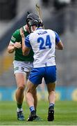 7 August 2021; Peter Casey of Limerick, behind, involved in an off the ball incident with Conor Gleeson of Waterford, before Casey was shown a straight red card during the GAA Hurling All-Ireland Senior Championship semi-final match between Limerick and Waterford at Croke Park in Dublin. Photo by Piaras Ó Mídheach/Sportsfile