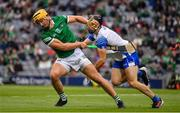 7 August 2021; Tom Morrissey of Limerick is tackled by Jamie Barron of Waterford during the GAA Hurling All-Ireland Senior Championship semi-final match between Limerick and Waterford at Croke Park in Dublin. Photo by Ray McManus/Sportsfile