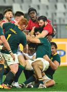 7 August 2021; Robbie Henshaw and Maro Itoje of British and Irish Lions in action against South Africa players, from left, Steven Kitshoff, Damian de Allende and Eben Etzebeth during the third test of the British and Irish Lions tour match between South Africa and British and Irish Lions at Cape Town Stadium in Cape Town, South Africa. Photo by Ashley Vlotman/Sportsfile