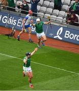 7 August 2021; Aaron Gillane of Limerick celebrates after scoring his side's first goal during the GAA Hurling All-Ireland Senior Championship semi-final match between Limerick and Waterford at Croke Park in Dublin. Photo by Daire Brennan/Sportsfile