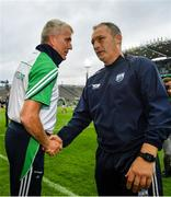7 August 2021; Limerick manager John Kiely, left, and Waterford manager Liam Cahill shake hands after their GAA Hurling All-Ireland Senior Championship semi-final match at Croke Park in Dublin. Photo by Seb Daly/Sportsfile