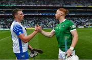 7 August 2021; Austin Gleeson of Waterford with Cian Lynch of Limerick after the GAA Hurling All-Ireland Senior Championship semi-final match between Limerick and Waterford at Croke Park in Dublin. Photo by Eóin Noonan/Sportsfile