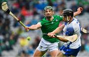 7 August 2021; Jamie Barron of Waterford in action against Seán Finn of Limerick during the GAA Hurling All-Ireland Senior Championship semi-final match between Limerick and Waterford at Croke Park in Dublin. Photo by Eóin Noonan/Sportsfile
