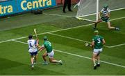 7 August 2021; Limerick goalkeeper Nickie Quaid saves a shot from Jamie Barron of Waterford during the GAA Hurling All-Ireland Senior Championship semi-final match between Limerick and Waterford at Croke Park in Dublin. Photo by Daire Brennan/Sportsfile