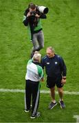 7 August 2021; Limerick manager John Kiely and Waterford manager Liam Cahill shake hands after the GAA Hurling All-Ireland Senior Championship semi-final match between Limerick and Waterford at Croke Park in Dublin. Photo by Daire Brennan/Sportsfile