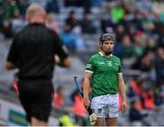 7 August 2021; Peter Casey of Limerick looks towards referee John Keenan as he approaches him to show him a straight red card, for an off the ball incident with Conor Gleeson of Waterford, during the GAA Hurling All-Ireland Senior Championship semi-final match between Limerick and Waterford at Croke Park in Dublin. Photo by Piaras Ó Mídheach/Sportsfile