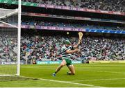 7 August 2021; Limerick goalkeeper Nickie Quaid saves a shot on goal by Jamie Barron of Waterford during the GAA Hurling All-Ireland Senior Championship semi-final match between Limerick and Waterford at Croke Park in Dublin. Photo by Eóin Noonan/Sportsfile