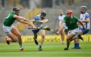 7 August 2021; Jamie Barron of Waterford in action against Gearóid Hegarty, left, and Barry Nash of Limerick during the GAA Hurling All-Ireland Senior Championship semi-final match between Limerick and Waterford at Croke Park in Dublin. Photo by Piaras Ó Mídheach/Sportsfile