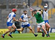 7 August 2021; Darragh O'Donovan of Limerick in action against Waterford players, from left, Darragh Lyons, Jamie Barron, and Stephen Bennett during the GAA Hurling All-Ireland Senior Championship semi-final match between Limerick and Waterford at Croke Park in Dublin. Photo by Piaras Ó Mídheach/Sportsfile