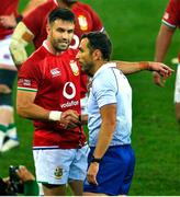 7 August 2021; Conor Murray of British and Irish Lions in conversation with referee Mathieu Raynal after the final whistle of the third test of the British and Irish Lions tour match between South Africa and British and Irish Lions at Cape Town Stadium in Cape Town, South Africa. Photo by Ashley Vlotman/Sportsfile