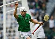 7 August 2021; Aaron Gillane of Limerick celebrates after scoring his side's first goal during the GAA Hurling All-Ireland Senior Championship semi-final match between Limerick and Waterford at Croke Park in Dublin. Photo by Seb Daly/Sportsfile