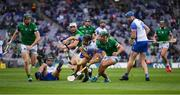 7 August 2021; Jamie Barron of Waterford is tackled by Seán Finn of Limerick during the GAA Hurling All-Ireland Senior Championship semi-final match between Limerick and Waterford at Croke Park in Dublin. Photo by Ray McManus/Sportsfile