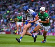 7 August 2021; Conor Prunty of Waterford is tackled by Aaron Gillane of Limerick during the GAA Hurling All-Ireland Senior Championship semi-final match between Limerick and Waterford at Croke Park in Dublin. Photo by Ray McManus/Sportsfile