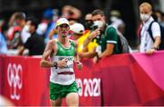 8 August 2021; Kevin Seaward of Ireland approaches the finish line in 58th place during the men's marathon at Sapporo Odori Park on day 16 during the 2020 Tokyo Summer Olympic Games in Sapporo, Japan. Photo by Ramsey Cardy/Sportsfile