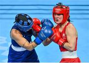8 August 2021; Kellie Harrington of Ireland, right, and Beatriz Ferreira of Brazil during their women's lightweight final bout at the Kokugikan Arena during the 2020 Tokyo Summer Olympic Games in Tokyo, Japan. Photo by Brendan Moran/Sportsfile