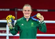 8 August 2021; Kellie Harrington of Ireland celebrates with her gold medal after defeating Beatriz Ferreira of Brazil in their women's lightweight final bout with at the Kokugikan Arena during the 2020 Tokyo Summer Olympic Games in Tokyo, Japan. Photo by Brendan Moran/Sportsfile