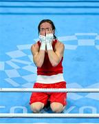 8 August 2021; Kellie Harrington of Ireland reacts after defeating Beatriz Ferreira of Brazil in their women's lightweight final bout at the Kokugikan Arena during the 2020 Tokyo Summer Olympic Games in Tokyo, Japan. Photo by Brendan Moran/Sportsfile