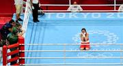 8 August 2021; Kellie Harrington of Ireland reacts after victory as her coaches Zaur Antia and John Conlan look on following her lightweight final bout with Beatriz Ferreira of Brazil at the Kokugikan Arena during the 2020 Tokyo Summer Olympic Games in Tokyo, Japan. Photo by Brendan Moran/Sportsfile