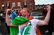 8 August 2021; A neighbour of Kellie Harrington's family, from Portland Row in Dublin, Aeo Gately celebrates after watching her bout on a big screen when she contested the Tokyo 2020 Olympics lightweight final bout, against Beatriz Ferreira of Brazil. Photo by Ray McManus/Sportsfile
