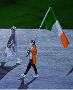 8 August 2021; Natalya Coyle of Ireland carries the Irish tricolour during the closing ceremony at the Olympic Stadium during the 2020 Tokyo Summer Olympic Games in Tokyo, Japan. Photo by Brendan Moran/Sportsfile