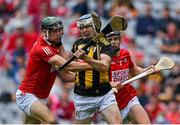 8 August 2021; TJ Reid of Kilkenny in action against Mark Coleman and Darragh Fitzgibbon of Cork during the GAA Hurling All-Ireland Senior Championship semi-final match between Kilkenny and Cork at Croke Park in Dublin. Photo by Piaras Ó Mídheach/Sportsfile