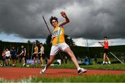 8 August 2021; Barry Langan of Lake District AC, competing in the Boys U14 Javelin during day three of the Irish Life Health National Juvenile Track & Field Championships at Tullamore Harriers Stadium in Tullamore, Offaly. Photo by Sam Barnes/Sportsfile