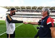 8 August 2021; Kilkenny manager Brian Cody and Cork manager Kieran Kingston fist bump after the GAA Hurling All-Ireland Senior Championship semi-final match between Kilkenny and Cork at Croke Park in Dublin. Photo by Harry Murphy/Sportsfile