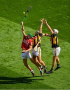 8 August 2021; Séamus Harnedy of Cork in action against Padraig Walsh, left, and Michael Carey of Kilkenny during the GAA Hurling All-Ireland Senior Championship semi-final match between Kilkenny and Cork at Croke Park in Dublin. Photo by Daire Brennan/Sportsfile