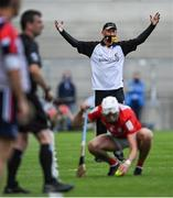 8 August 2021; Kilkenny manager Brian Cody questions the amount of time Tim O'Mahony of Cork is taking to take a sideline cut during the GAA Hurling All-Ireland Senior Championship semi-final match between Kilkenny and Cork at Croke Park in Dublin. Photo by Piaras Ó Mídheach/Sportsfile