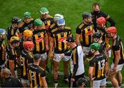 8 August 2021; Kilkenny manager Brian Cody speaks to his players at half time in extra-time the GAA Hurling All-Ireland Senior Championship semi-final match between Kilkenny and Cork at Croke Park in Dublin. Photo by Daire Brennan/Sportsfile