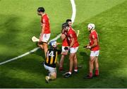 8 August 2021; Darragh Fitzgibbon of Cork commiserates with TJ Reid of Kilkenny after the GAA Hurling All-Ireland Senior Championship semi-final match between Kilkenny and Cork at Croke Park in Dublin. Photo by Daire Brennan/Sportsfile