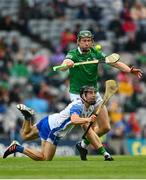 7 August 2021; Jamie Barron of Waterford in action against William O'Donoghue of Limerick during the GAA Hurling All-Ireland Senior Championship semi-final match between Limerick and Waterford at Croke Park in Dublin. Photo by Eóin Noonan/Sportsfile