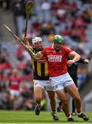8 August 2021; Robbie O'Flynn of Cork is tackled by Padraig Walsh of Kilkenny during the GAA Hurling All-Ireland Senior Championship semi-final match between Kilkenny and Cork at Croke Park in Dublin. Photo by Ray McManus/Sportsfile