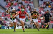 8 August 2021; Robbie O'Flynn of Cork is tackled by Padraig Walsh, left, and Conor Fogarty of Kilkenny during the GAA Hurling All-Ireland Senior Championship semi-final match between Kilkenny and Cork at Croke Park in Dublin. Photo by Ray McManus/Sportsfile