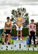8 August 2021; Boys U14 Javelin medallists, from left, Oscar Naughton of Leevale AC, Cork, silver, Barry Langan of Lake District AC, gold, and James Rochford of Ennis Track AC, Clare, bronze, competing in the Boy's U14 Discus during day three of the Irish Life Health National Juvenile Track & Field Championships at Tullamore Harriers Stadium in Tullamore, Offaly. Photo by Sam Barnes/Sportsfile