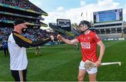 8 August 2021; Kilkenny manager Brian Cody and Darragh Fitzgibbon of Cork bump fists after the GAA Hurling All-Ireland Senior Championship semi-final match between Kilkenny and Cork at Croke Park in Dublin. Photo by Piaras Ó Mídheach/Sportsfile