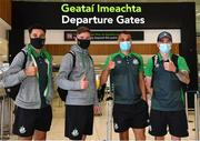 10 August 2021; Shamrock Rovers players, from left, Roberto Lopes, Ronan Finn, Graham Burke and Sean Kavanagh at Dublin Airport prior to their side's departure to Albania for their UEFA Europa Conference League third qualifying round second leg match against Teuta. Photo by Seb Daly/Sportsfile