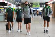 10 August 2021; Shamrock Rovers players, from left, Graham Burke, Sean Kavanagh, Ronan Finn and Roberto Lopes at Dublin Airport prior to their side's departure to Albania for their UEFA Europa Conference League third qualifying round second leg match against Teuta. Photo by Seb Daly/Sportsfile