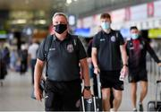 10 August 2021; Bohemians manager Keith Long at Dublin Airport prior to his side's departure to Greece for their UEFA Europa Conference League third qualifying round second leg match against PAOK. Photo by Seb Daly/Sportsfile