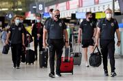 10 August 2021; Bohemians manager Keith Long, centre, with assistant manager Trevor Croly, right, at Dublin Airport prior to their side's departure to Greece for their UEFA Europa Conference League third qualifying round second leg match against PAOK. Photo by Seb Daly/Sportsfile