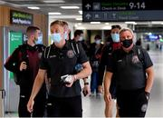 10 August 2021; Bohemians goalkeeper James Talbot, left, and manager Keith Long at Dublin Airport prior to their side's departure to Greece for their UEFA Europa Conference League third qualifying round second leg match against PAOK. Photo by Seb Daly/Sportsfile