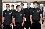 10 August 2021; Bohemians players, from left, Anto Breslin, Keith Buckley, Liam Burt, Rob Cornwall, Georgie Kelly and Stephen Mallon at Dublin Airport prior to their side's departure to Greece for their UEFA Europa Conference League third qualifying round second leg match against PAOK. Photo by Seb Daly/Sportsfile