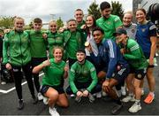 10 August 2021; Gold Medallist Kellie Harrington with members of the Ireland boxing team at Dublin Airport as Team Ireland's boxers return from the Tokyo 2020 Olympic Games. Photo by Seb Daly/Sportsfile
