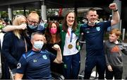 10 August 2021; Gold medallist Kellie Harrington with members of St Mary's Boxing Club, Tallaght, at Dublin Airport as Team Ireland's boxers return from the Tokyo 2020 Olympic Games. Photo by Seb Daly/Sportsfile