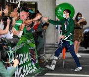 10 August 2021; Bronze medallist Aidan Walsh is greeted by family and friends at Dublin Airport as Team Ireland's boxers return from the Tokyo 2020 Olympic Games. Photo by Seb Daly/Sportsfile