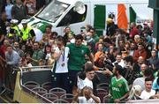 10 August 2021; An emotional Team Ireland women's lightweight gold medallist Kellie Harrington and Emmet Brennan pass through Portland Row in Dublin on their return from the Tokyo 2020 Summer Olympic Games. Photo by David Fitzgerald/Sportsfile